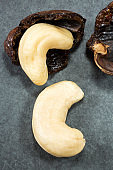Natural and roasted cashew nut - Anacardium occidentale