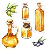 Set with green and black olives and bottles of olive oil. Hand draw watercolor illustration.