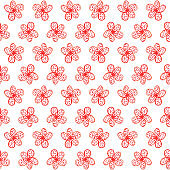 simple seamless pattern watercolor of red flower, painting flower illustration