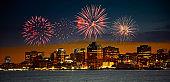 Fireworks over Halifax, Nova Scotia, Canada.