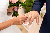 "Wedding, marriage concept. Bride puts wedding ring on groom""u2019s finger on wedding day"