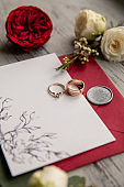 Red wedding. Wedding rings on white and red invitation near red flowers