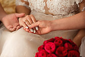 Wedding concept. Bridesmaids holding bride's hand with wedding ring. Day after engagement