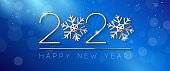 2020 Happy New Year Background, Card, Banner, Flyer Or Christmas Themed Invitations. Blue Illustration With Golden Digits And Snowflake. Ready For Your Design. Vector EPS10