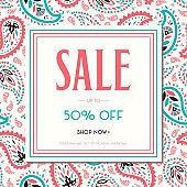 Colorful Oriental Paisley Promotion Square Banner. Social Media Ads Graphics. Whimsical Feminine Design