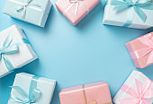 Top view of Pink and blue gift boxes on isolated background