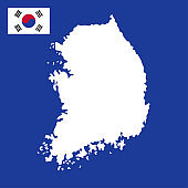 south korea map and flag illustration vector