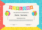 Kid diploma, certificate. Vector illustration. Cute preschool design.