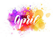 Hello April - spring concept background