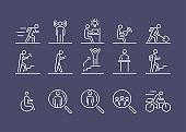 Business people icon set simple line flat illustration