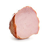 Piece of tasty ham on white background
