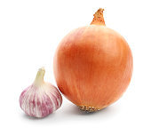 Fresh onion with garlic on white background