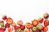 Sweet ripe strawberries on white background