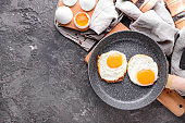 Pan with tasty fried eggs on table