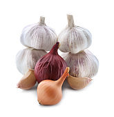Fresh onions and garlic on white background