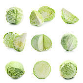 Set of ripe cabbages on white background