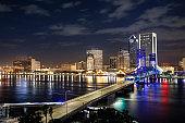 Jacksonville Florida city skyline at night