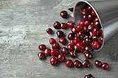 Overturned metal cup with cherry on wooden background