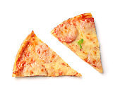 Slices of tasty pepperoni pizza on white background