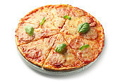 Tasty pepperoni pizza on white background