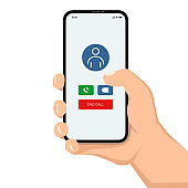 Brutal human hand holding smartphone with video call application ui flat style illustration