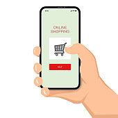 Brutal human hand holding smartphone with shopping application ui flat style illustration