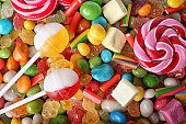 Different colorful candies, closeup