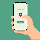 Brutal human hand holding smartphone with location application ui flat style illustration