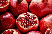 Many ripe pomegranates