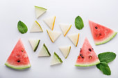 Summer composition with slices of melon and watermelon on white background