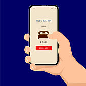 Brutal human hand holding smartphone with hotel reservation application ui flat style illustration