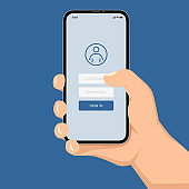 Brutal human hand holding smartphone with sign in application ui flat style illustration