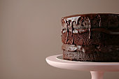 Dessert stand with delicious chocolate cake on color background