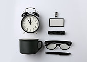 Set of items for branding on white background