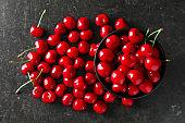 Tasty ripe cherry on dark grey background