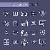 Education icons set simple flat style outline illustration