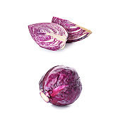 Cut and whole red cabbage on white background