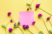 Beautiful flowers with blank card on color background