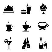 Dinner icon set. Food icons simple flat style vector illustration