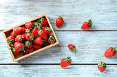 Box with sweet ripe strawberries on wooden table