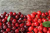 Fresh ripe cherry on wooden background