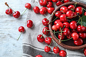 Bowl with tasty ripe cherries on white wooden background
