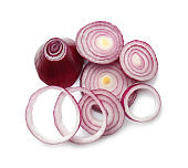 Cut onion on white background
