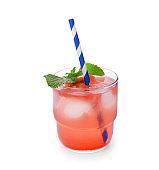 Glass of fresh watermelon lemonade on white background