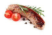 Fried sausage with tomatoes and rosemary on white background