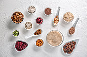 Various healthy products on light background