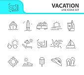 Vacation line icon set. Scuba diving, flip flops