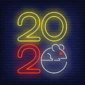 Two thousand and twenty year with mouse neon sign