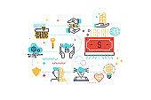 Fintech (Financial Technology) concept  illustration