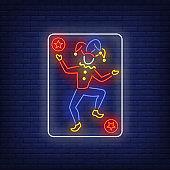 Joker playing card neon sign